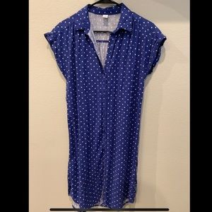 Blue Polka Dot Shirt Dress